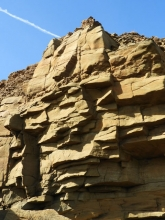 Carboniferous cliff just S of newbiggin near rock fall